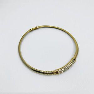 Vintage Swarovski Gold Rope Thick Short Necklace
